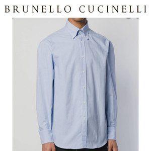 Brunello Cucinelli Blue Checkered Mens Dress Shirt